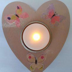Multi-coloured Wooden Heart Shape Tea Light Holder (Copy) (Copy)