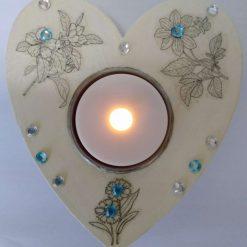 Multi-coloured Wooden Heart Shape Tea Light Holder (Copy)