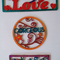 Set of 3 'positive' wooden signs - love, beautiful and gorgeous