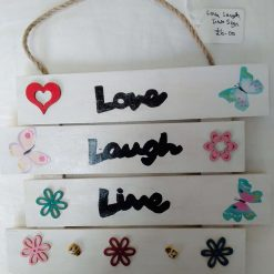 Love, Laugh, Live Wooden Wall Hanging with flowers, bees and butterflies