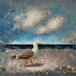 Seascape painting.Oil on hardboard.30 x 40 cm.Seagull.