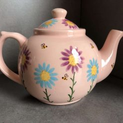 Pink, Purple and Teal Floral Teapot, Ceramic Pottery Shop, Hand Painted Gifts for Friends and Family