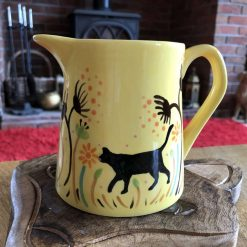 Black Cat Flowers and Seeds Jug, Yellow, Small, Ceramic Pottery Shop, Gifts for Friends and Family