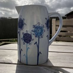 Blue Dandelion Design Jug, Large, Ceramic Pottery Shop, Gifts for Friends and Family