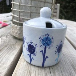 Blue Dandelion Design Sugar Bowl, Ceramic Pottery Shop, Gifts for Friends and Family