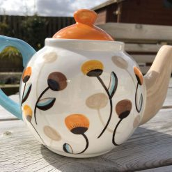 Summer Seeds, Orange, Yellow and Teal Teapot, Ceramic Pottery Shop, Gifts for Friends and Family