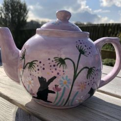 Black Cat Flowers and Seeds Teapot, Purple, Ceramic Pottery Shop, Gifts for Friends and Family