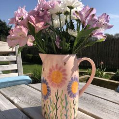 Pink and Lilac Busy Bee Jug, Large, Ceramic Pottery Shop, Gifts for Friends and Family