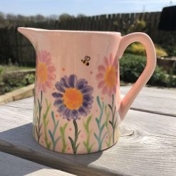 Pink and Lilac Busy Bee Jug, Small, Ceramic Pottery Shop, Gifts for Friends and Family
