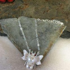 Freshwater Pearl & Garnet Butterfly Pendant Sterling Silver
