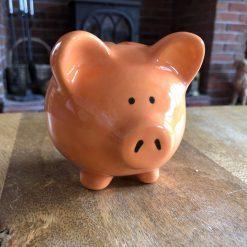 Orange Piggy Bank, Medium, Ceramic Pottery Shop, Gifts for Children