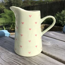 Pale Green and Pink Sweetheart Jug, Medium, Ceramic Pottery Shop, Gifts for Friends and Family