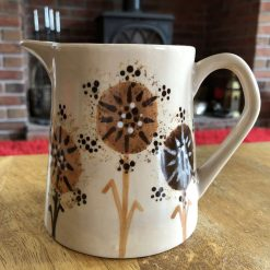 Autumn Browns Dandelion Jug, Small, Ceramic Pottery Shop, Gifts for Friends and Family