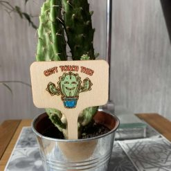 Wooden plant sign tag laser engraved- Can't touch this