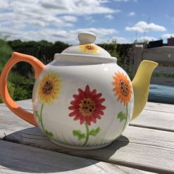 Red, Orange and Yellow Gerbera Floral Teapot, Ceramic Pottery Shop, Gifts for Friends and Family