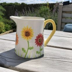 Red, Orange and Yellow Gerbera Floral Jug, Small, Ceramic Pottery Shop, Gifts for Friends and Family
