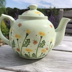 Yellow Dandelions Butterflies and Bees Teapot, Ceramic Pottery Shop, Hand Painted Gifts for friends and Family