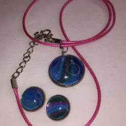 Pendant and Earring Set (Pink cord)