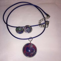 Pendant and Earring Set Blue Cord