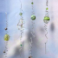 4 Rustic Wire & Bead Hanging Suncatchers, hand made, unique