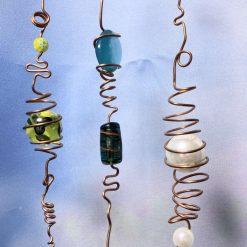 3 Rustic Copper Wire & Bead Hanging Suncatchers, hand made, unique