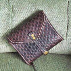 Bi-Fold leather wallet, Dragon scale design