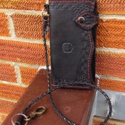 Black Leather long wallet and belt cord.