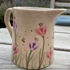 Pink and Purple Tulip Jug, Small, Ceramic Pottery Shop, Gifts for Friends and Family