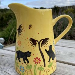 Black Cat Flowers and Seeds Jug, Yellow, Medium, Ceramic Pottery Shop, Gifts for Friends and Family