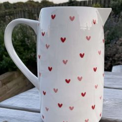 White, Pink and Red Sweetheart Jug, Large, Ceramic Pottery Shop, Gifts for Friends and Family