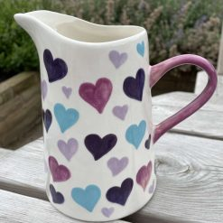 Purple Patch, Pink and Teal Big Heart Jug, Medium, Ceramic Pottery Shop, Gifts for Friends and Family