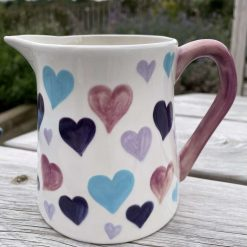 Purple Patch, Pink and Teal Big Heart Jug, Small, Ceramic Pottery Shop, Gifts for Friends and Family