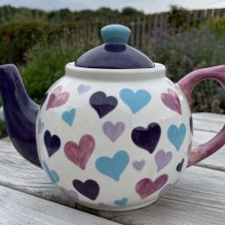 Faded Purple Patch, Pink and Teal Big Heart Teapot, Ceramic Pottery Shop, Gifts for Friends and Family