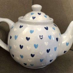 Blue and White Sweetheart Teapot, Ceramic Pottery Shop, Hand Made Gifts for Friends and Family