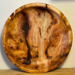 Hand turned wooden yew bowl