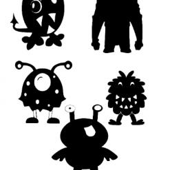 Monster Silhouettes SVG SVG   Dxf   Eps   Jpeg   Png   Pdf   Vector   CNC   Digital Download