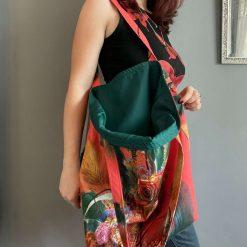 Large orange and Green tote bag.