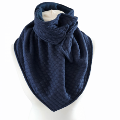 Black with a Lovely Blue Leaf pattern, Wrap, Scarves, Shawl, Fully Fleece Lined with Black Fleece