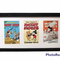 Walt Disney's Mickey Mouse Classic Film Postcards in Black Frame