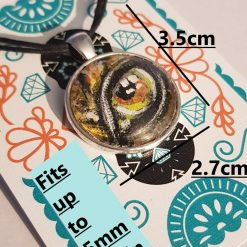 Handpainted pendant dome -Art Acrylic- one of a kind-Necklace-Charm-Keyring-Animal eyes- Brown snake eye 6