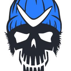 Skull in Hat   Dxf   Eps   Jpeg   Png   Pdf   SVG   Vector   CNC   Digital Download