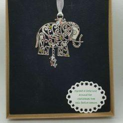 Elephant Swarovski elements Christmas decor/necklace