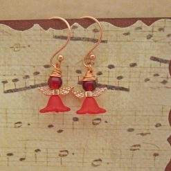 Wee Fairy Earrings, Gift for Her, Red