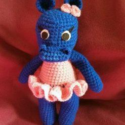 13 inches Handmade Crochet Amigurumi Hippo.