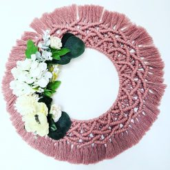 Vintage Pink Macrame Floral Door Wreath