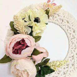 Cream Peony Macrame Floral Door Wreath
