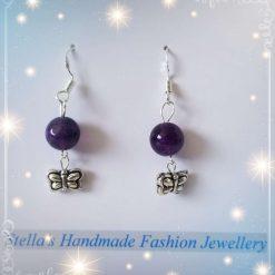925 Sterling Silver with Gemstones ( Amethyst ) Earring