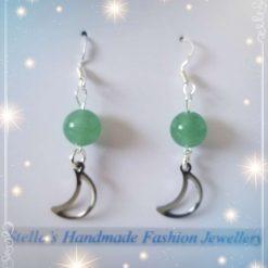 925 Sterling Silver Natural Gemstones ( Green Aventurine ) Earring