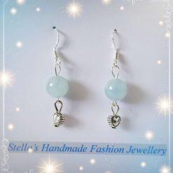 925 Sterling Silver Gemstones ( Aquamarine ) Earring