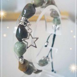 Natural Green Opal ( Birthstone of October ) Nuggets Adjustable Bracelet